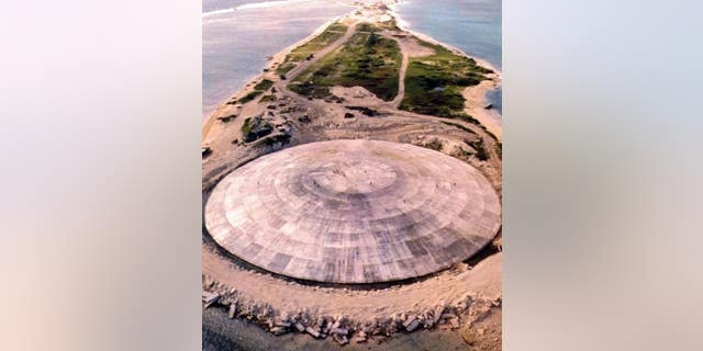 A huge concrete dome was built over a crater left by a nuclear blast on Runit Island.