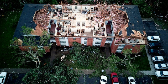 This aerial photo shows tornado damage at the Westbrooke Village Apartment complex in Trotwood, Ohio, Tuesday, May 28, 2019.