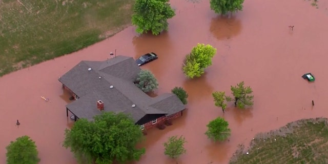 Flooding could be seen west of Oklahoma City after a storm system brought severe weather and heavy rains Monday night into Tuesday.