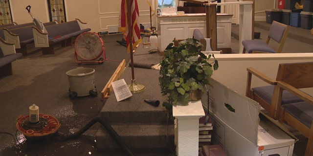 Heavy rain caused flooding at the First Baptist Church of Lavon in the Dallas area late Wednesday.