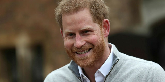 Britain's Prince Harry speaks at Windsor Castle, Windsor, England, Monday May 6, 2019, after his wife Meghan, the Duchess of Sussex gave birth to a baby boy. It is the first child for Harry and Meghan, who married a year ago.