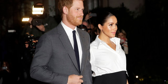 In this Feb. 7, 2019 file photo, Britain's Prince Harry and Meghan, Duchess of Sussex arrive at the annual Endeavour Fund Awards in London.