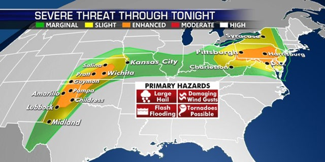 The areas with the highest severe weather risk on Thursday.