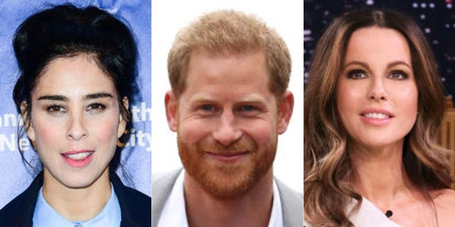Sarah Silverman (left) said she encouraged gal pal Kate Beckinsale (right) to date Prince Harry (center) before he met Meghan Markle.