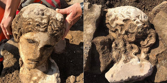 The head was found when archaeologists were excavating a late-Medieval era wall. (Sovrintendenza Capitolina ai Beni Culturali)