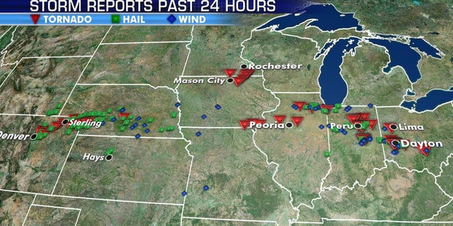 At least a dozen tornadoes were reported in Indiana and Ohio late Monday.