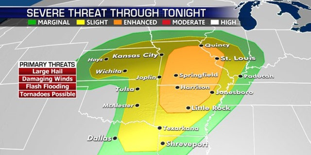 The threat of severe weather and tornadoes on Tuesday includes parts of Missouri and Arkansas.