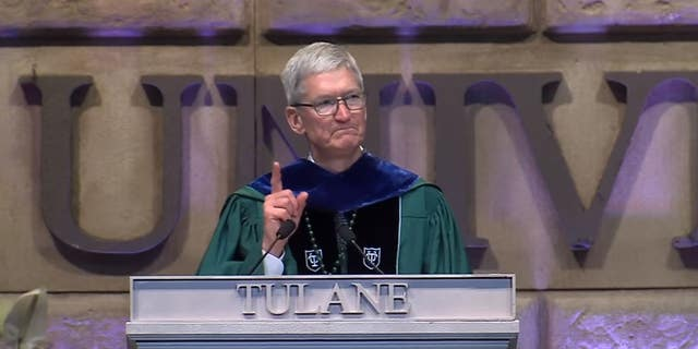 Apple CEO Tim Cook gave the commencement address at Tulane University on May 18, 2019.