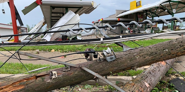 Damage after a tornado hit Jefferson City, Missouri late Wednesday.
