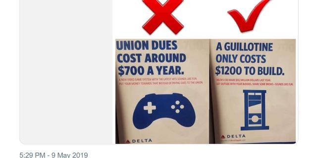 Westlake Legal Group tweet-delta Big Labor group tweets 'guillotine' joke after Delta Air Lines CEO opposes unionization efforts Lukas Mikelionis fox-news/us/economy/labor-unions fox-news/topic/fox-news-flash fox-news/politics/socialism fox news fnc/us fnc article 26bb5365-3e2e-5e78-8dc9-ec025265f639