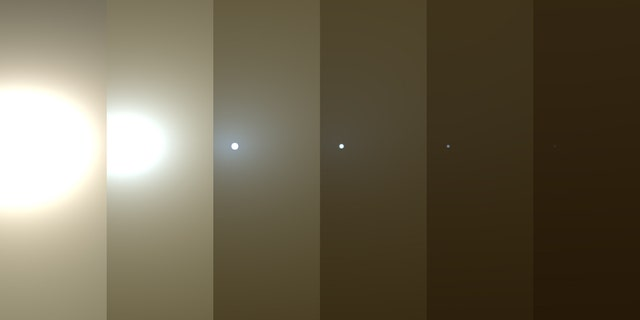 This series of simulated images shows how conditions changed around NASA's Mars rover Opportunity as a huge dust storm intensified throughout June 2018. At left, the sun appears blindingly bright but darkens as the dust storm intensifies. At the far right, the sun is a mere pinprick, with the dust storm in full swing.