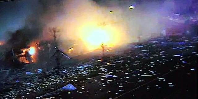 An image posted by the Lake County Sheriff's Office shows the aftermath of Friday's explosion in the Gurnee/Waukegan area north of Chicago.