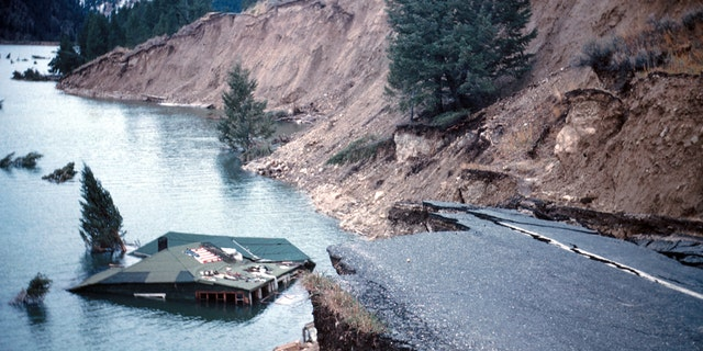 Damage from the August 1959 Hebgen Lake earthquake. (Credit: I.J. Witkind/USGS)