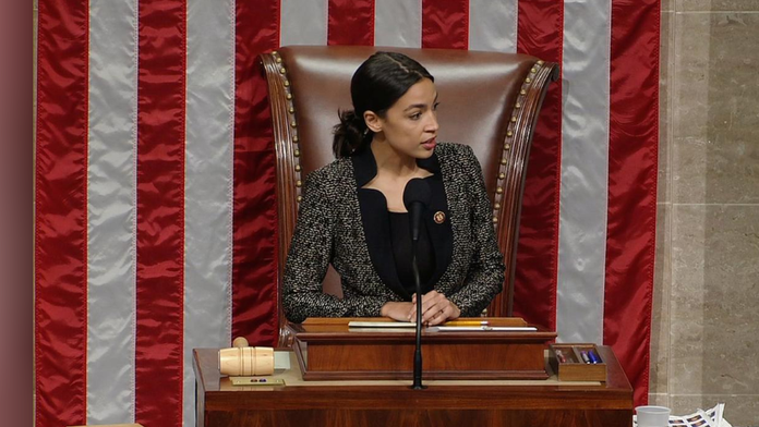 AOC briefly takes Pelosi's spot in presiding over House; reportedly youngest woman to wield gavel