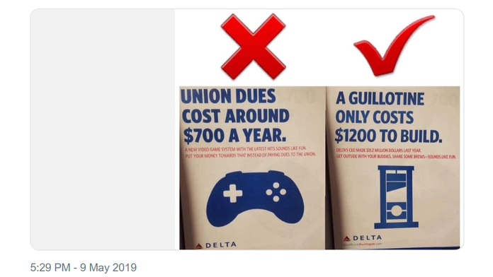 Big Labor group tweets 'guillotine' joke after Delta Air Lines CEO opposes unionization efforts
