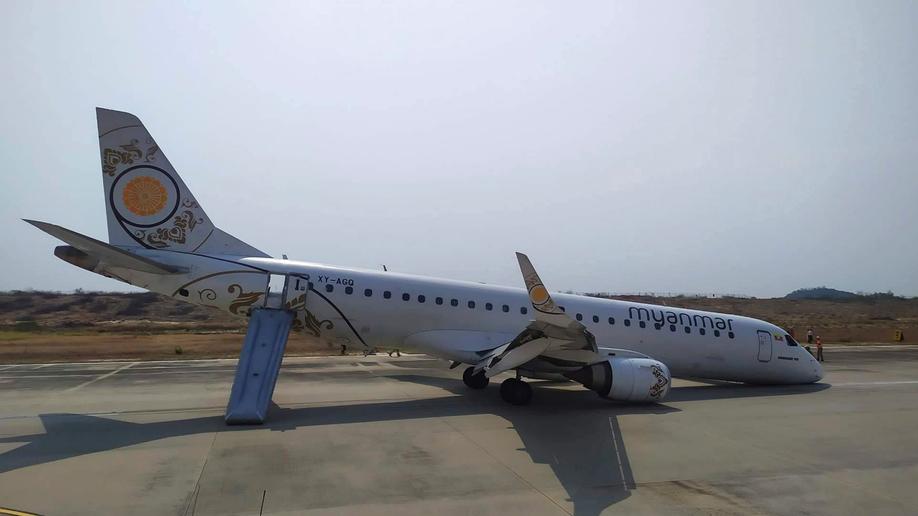 Plane lands without front wheels in Myanmar, passengers escape unhurt