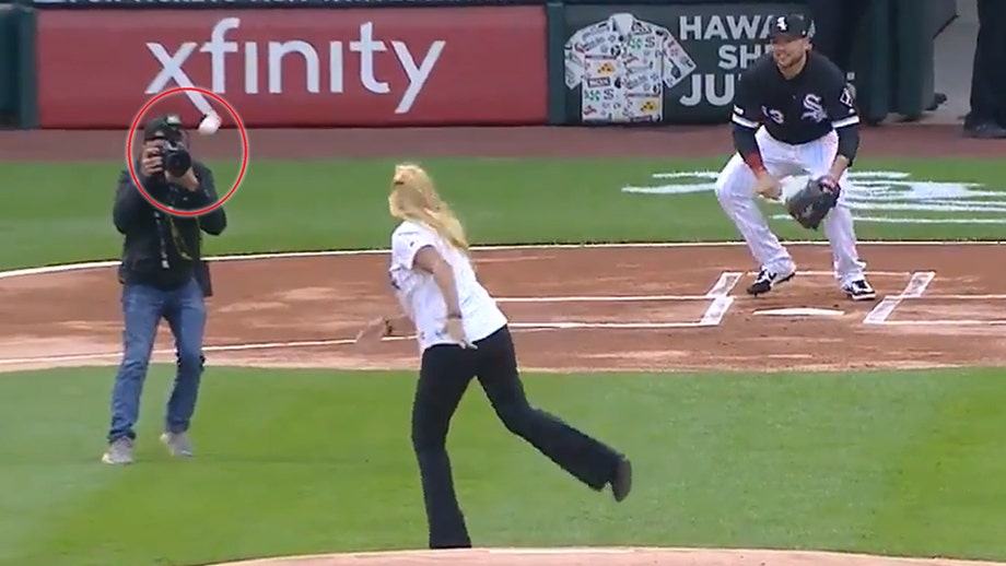 0f03b477f59 Chicago White Sox staffer throws worst (or maybe best) first pitch ever
