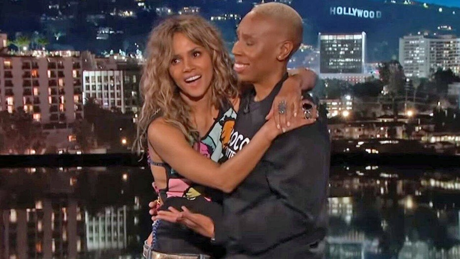 80c054e38 Halle Berry passionately kisses Lena Waithe on  Jimmy Kimmel Live ...