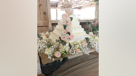 Couple creates DIY wedding cake from Costco sheet cakes and Trader Joe's flowers, spends less than $50