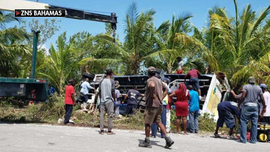 Four people, 3 critical, airlifted to US after cruise line tour bus crashes in Bahamas