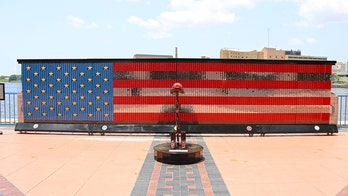 Fallen Heroes Memorial in Florida made of dog tags of fallen soldiers as American flag