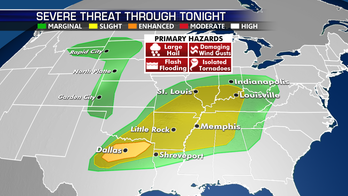 Severe storm threat concentrated from Southern Plains to Mississippi River Valley
