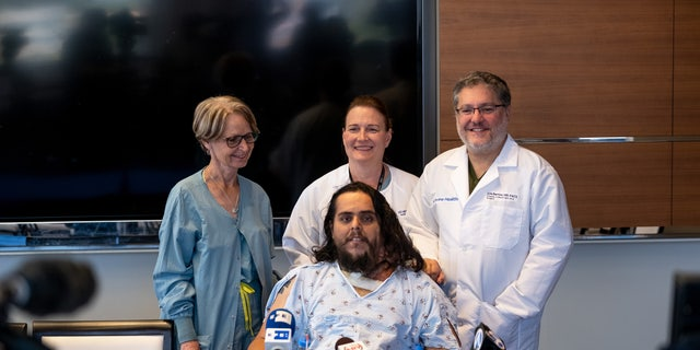 Galvan, pictured with Barrios and his care team, said he is looking forward to helping people in his community.