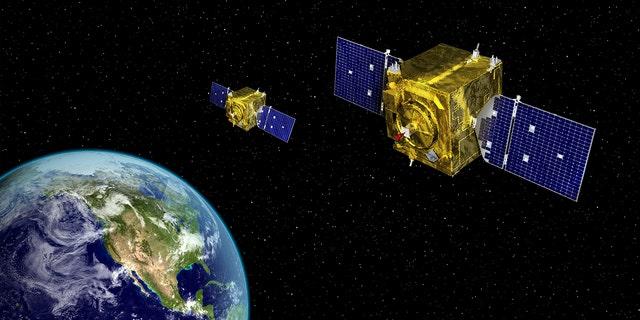 Artist rendering of a space satellite