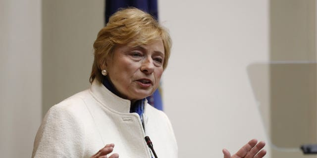 Gov. Janet Mills will hand over her household address to lawmakers at the State House in Augusta, Maine on Monday, February 11, 2019.