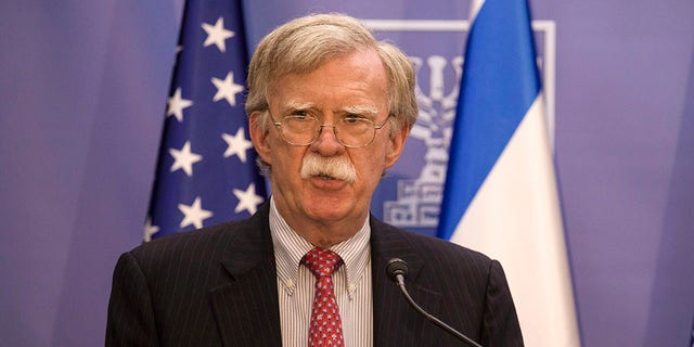 U.S. National Security Advisor John Bolton gives statements to media in Jerusalem, Sunday, June 23, 2019. (Associated Press)
