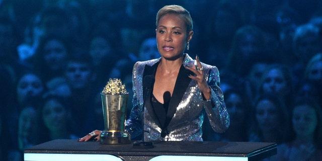 Jada Pinkett Smith accepts the trailblazer award at the MTV Movie and TV Awards on Saturday, June 15, 2019, at the Barker Hangar in Santa Monica, Calif.