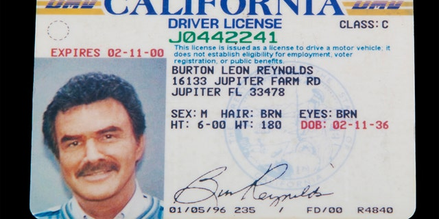 Burt Reynolds' driver license. — Burt Reynolds