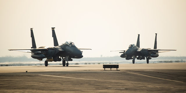 Westlake Legal Group ADAB-1 US squadron of F-15E fighters arrive in UAE amid Iran tensions Lukas Mikelionis fox-news/world/conflicts/iran fox-news/world/conflicts fox-news/us/military fox-news/politics/foreign-policy/middle-east fox-news/politics/defense fox news fnc/world fnc article 84af6ae3-7ddf-598f-bedd-679d4a1c1e3d