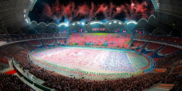 """North Korea plans to temporarily suspend its famous Mass Games gymnastics show, pictured here, after Kim Jong Un criticized the performance.<br data-cke-eol=""""1"""">"""