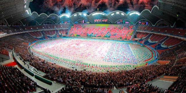 This image provided by the North Korean government shows the grand gymnastic and artistic performance at the May Day Stadium in Pyongyang.