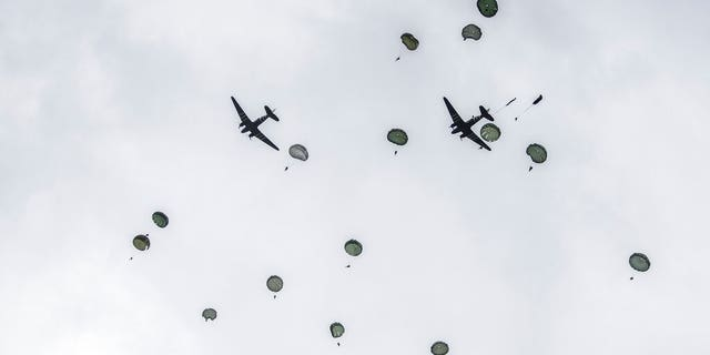 Approximately 200 parachutists participated in the jump over Normandy on Wednesday, replicating a jump made by U.S. soldiers on June 6, 1944 as a prelude to the seaborne invasions on D-Day.