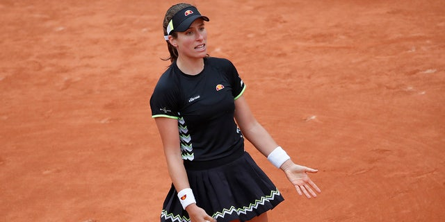 Britain's Johanna Konta reacts after missing a shot against Marketa Vondrousova of the Czech Republic during their semifinal match of the French Open tennis tournament at the Roland Garros stadium in Paris, Friday, June 7, 2019. (AP Photo/Christophe Ena)