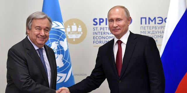 "United Nations Secretary General Antonio Guterres pictured with Vladimir Putin earlier this month; State Department spokesperson Morgan Ortagus said that Deputy Secretary of State John Sullivan called Guterres, Friday, ""to convey deep concerns,"" regarding Vornonkov's planned visit to Xinjiang, China."