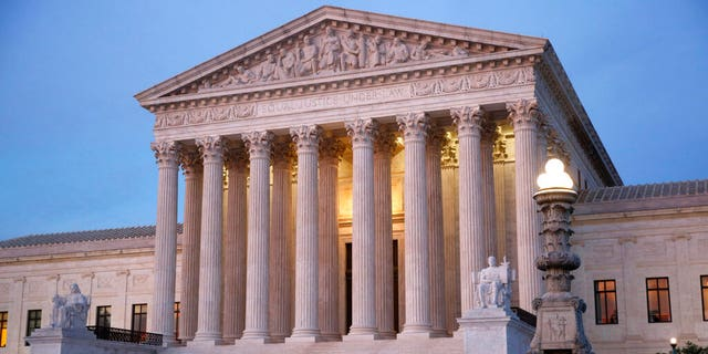 FILE: The U.S. Supreme Court building at dusk on Capitol Hill in Washington.