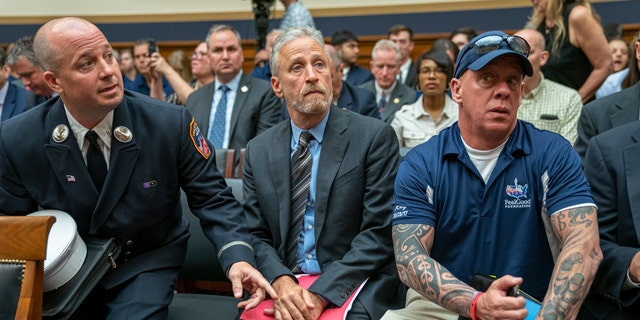 Jon Stewart lending his support to firefighters, first responders and survivors of the September 11 terror attacks at the hearing Tuesday. (AP Photo/J. Scott Applewhite)