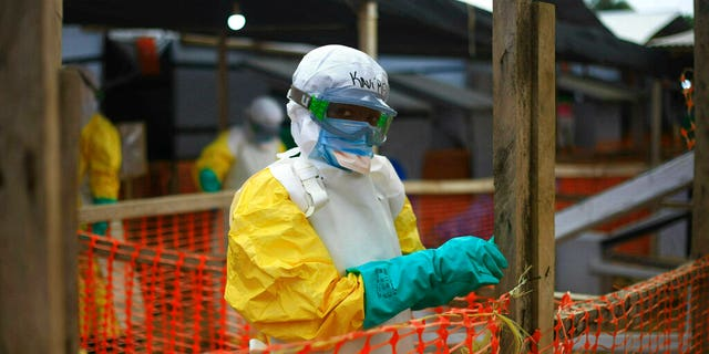 FILE: An Ebola health worker at a treatment center in Beni, Eastern Congo.