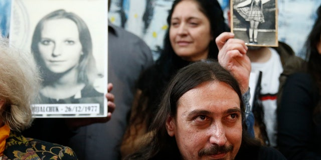 The Grandmothers of the Plaza de Mayo say DNA tests have determined the identity of Javier Matías Darroux Mijalchuk, taken from his mother as a baby by the country's former dictatorship. This brings the number of such cases to 130. (AP Photo/Marcos Brindicci)
