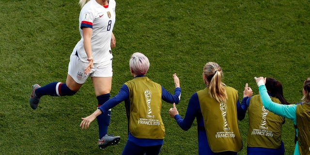 United States' Julie Ertz, left, celebrates after scoring her side's second goal during the Women's World Cup Group F soccer match between the United States and Chile at the Parc des Princes in Paris, Sunday, June 16, 2019. ()