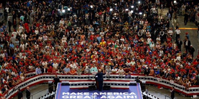 President Donald Trump speaks during his re-election kickoff rally at the Amway Center, Tuesday, June 18, 2019, in Orlando, Fla. (Associated Press)