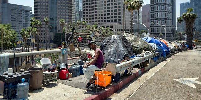 In this May 10, 2018, photo, a homeless person sits at his tent along the Interstate 110 freeway in downtown Los Angeles. (AP Photo/Richard Vogel, File)
