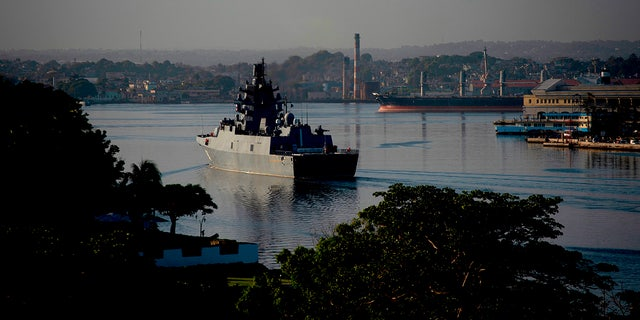 Russian Navy Admiral Gorshkov frigate arrives at the port of Havana, Cuba, Monday, June 24, 2019. (AP Photo/Ramon Espinosa)