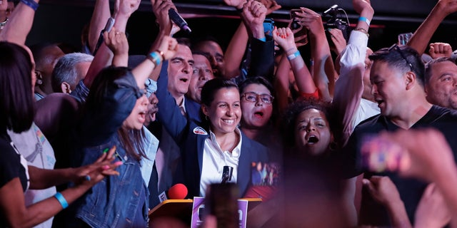 Queens district attorney candidate Tiffany Caban reacts as she is greeted by supporters Tuesday, June 25, 2019, in the Queens borough of New York. (AP Photo/Frank Franklin II)