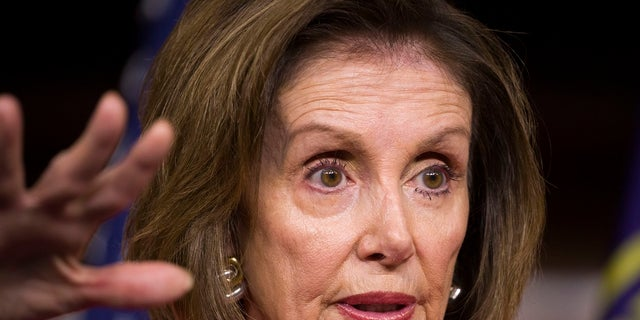 House Speaker Nancy Pelosi during her weekly media availability on Capitol Hill on Thursday. (AP Photo/Alex Brandon)