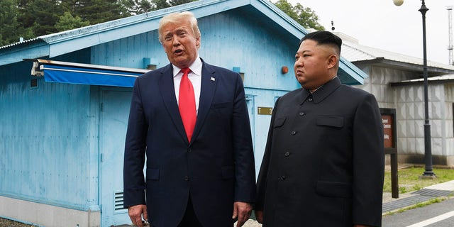 President Donald Trump meets with North Korean leader Kim Jong Un at the border village of Panmunjom in the Demilitarized Zone, South Korea, Sunday, June 30, 2019. (Associated Press)