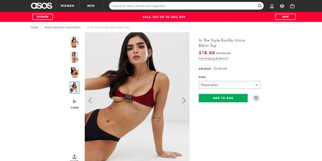 """According to the ASOS site, the daring buckle bikini is for """"poolside posing only.""""meaning you can't actually wear it in the water."""
